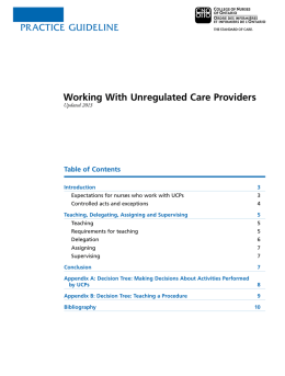 PRACTICE guIdElInE Working With Unregulated Care Providers
