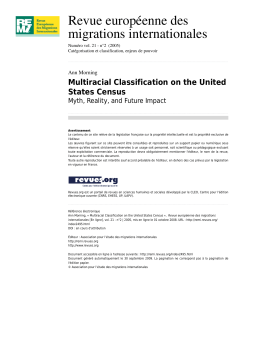 Multiracial Classification on the United States - Sociology