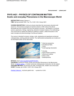 continuum physics - phys 4421 - Center for Nonlinear Science
