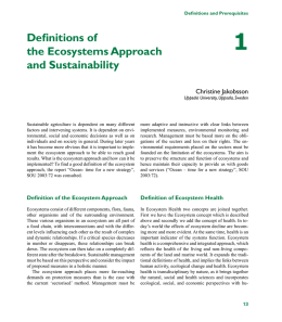 Chapter 1: Definitions of the Ecosystems Approach and Sustainability