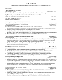 Graduate Student Resumes - Yale Office of Career Strategy