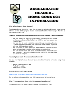 ACCELERATED READER - HOME CONNECT INFORMATION