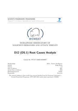 D12 (D5.1) Root Causes Analysis - fp7-ict-216026