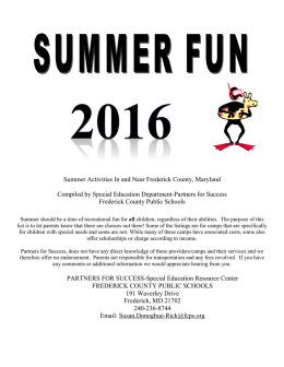 Partners for Success Summer Fun - Frederick County Public Schools