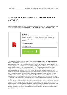 8-6 Practice Factoring Ax2+Bx+C Form K Answers