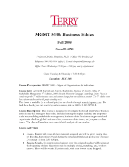 MGMT 5440: Business Ethics