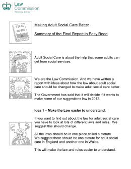 Ideas for a new Adult Social Care Statute