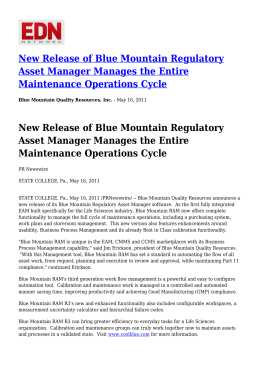 New Release of Blue Mountain Regulatory Asset Manager