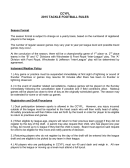 CCYFL 2015 TACKLE FOOTBALL RULES