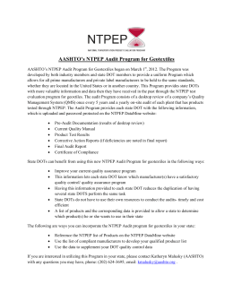 AASHTO`s NTPEP Audit Program for Geotextiles