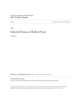 Selected Poems of Robert Frost - RIT Scholar Works