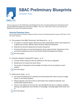 ITEM 60 SBAC Preliminary Test Blueprint Pop Quiz Answer Key