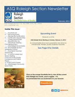 ASQ Raleigh Section Newsletter