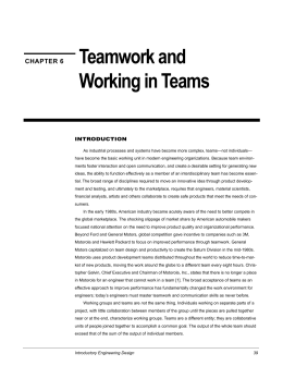 Teamwork and Working in Teams