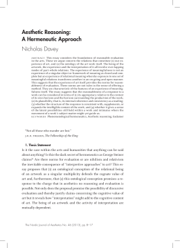 Aesthetic Reasoning: A Hermeneutic Approach Nicholas Davey