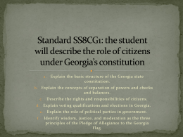 Standard SS8CG1: the student will describe the role of citizens