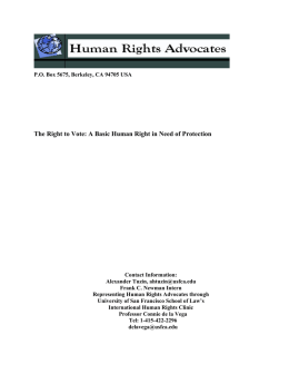 The Right to Vote: A Basic Human Right in Need of Protection