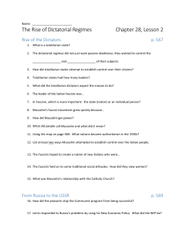 The Rise of Dictatorial Regimes Chapter 28, Lesson 2