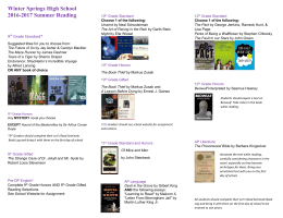 English Summer Reading List - Winter Springs High School