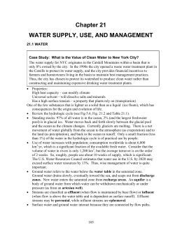 Water supply, Use, and Management Outline