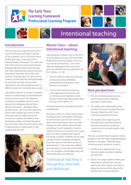 Intentional teaching - Early Childhood Australia