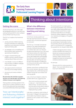 Thinking about intentions - Early Childhood Australia