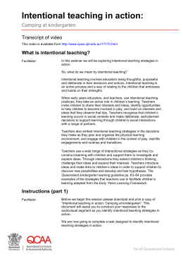 What is intentional teaching? - Queensland Curriculum and