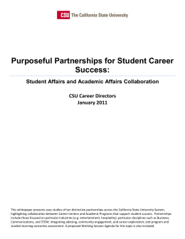 Purposeful Partnerships for Student Career Success: Student Affairs