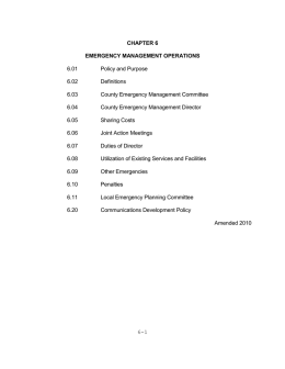 Chapter 6: Emergency Government Operations