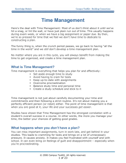 Time Management - Campus Toolkit