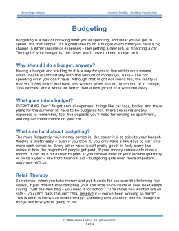 Budgeting - Campus Toolkit