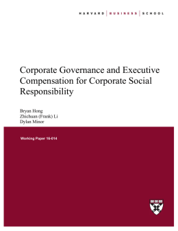 Corporate Governance and Executive Compensation for Corporate
