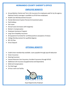 List of Employee Benefits - Hernando County Sheriff`s Office