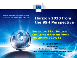 Horizon 2020 from the SSH Perspective