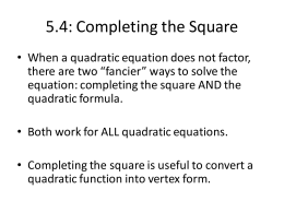 5.4 Completing the Square