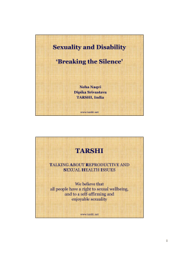 Neha_Sexuality and Disability- Breaking the Silence,TARSHI