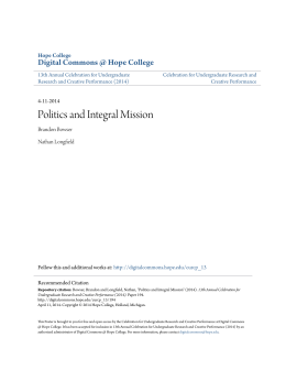 Politics and Integral Mission - Digital Commons @ Hope College