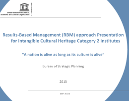 Results-Based Management (RBM) approach Presentation for
