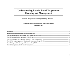 Understanding Results Based Programme Planning and Management