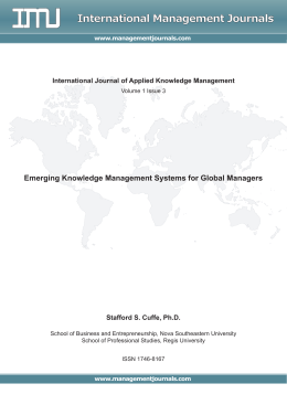 Emerging Knowledge Management Systems for Global Managers