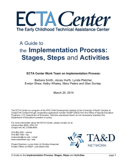 the Implementation Process: Stages, Steps and Activities