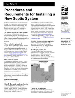 Procedures and Requirements for Installing a New Septic System