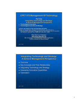 CPET 575 Management Of Technology Integrating Technology and