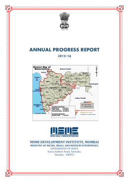 Annual Report 2015-16 - MSME Development Institute, Mumbai
