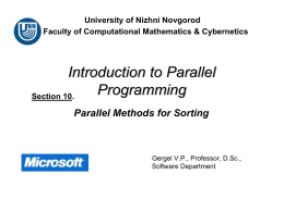 Parallel Methods for Sorting