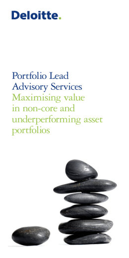 Portfolio Lead Advisory Services Maximising value in non