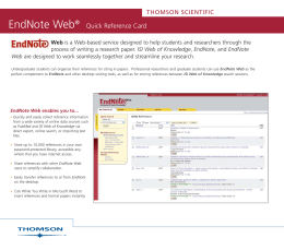 EndNote Web Quick Reference Card
