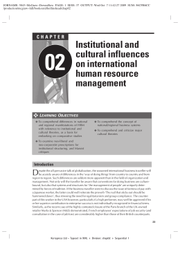 Institutional and cultural influences on international human resource