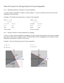 Notes for Lesson 6-6: Solving Systems of Linear Inequalities