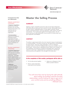 Master the Selling Process